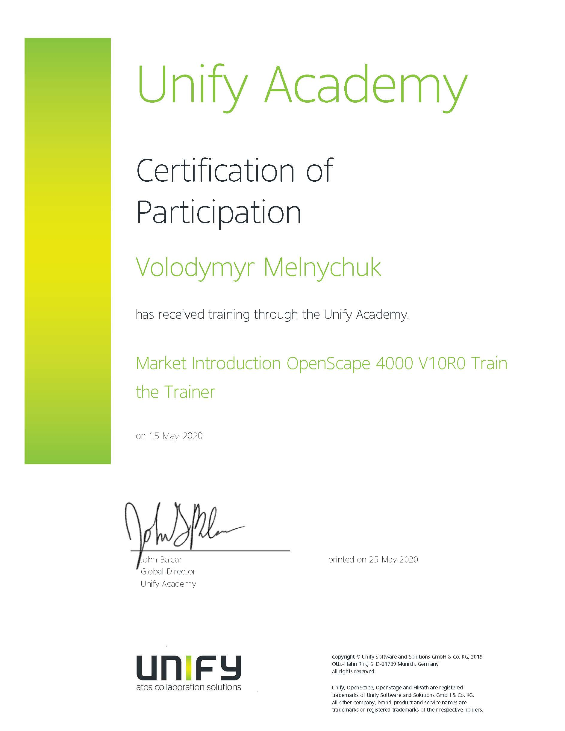 Unify Certification
