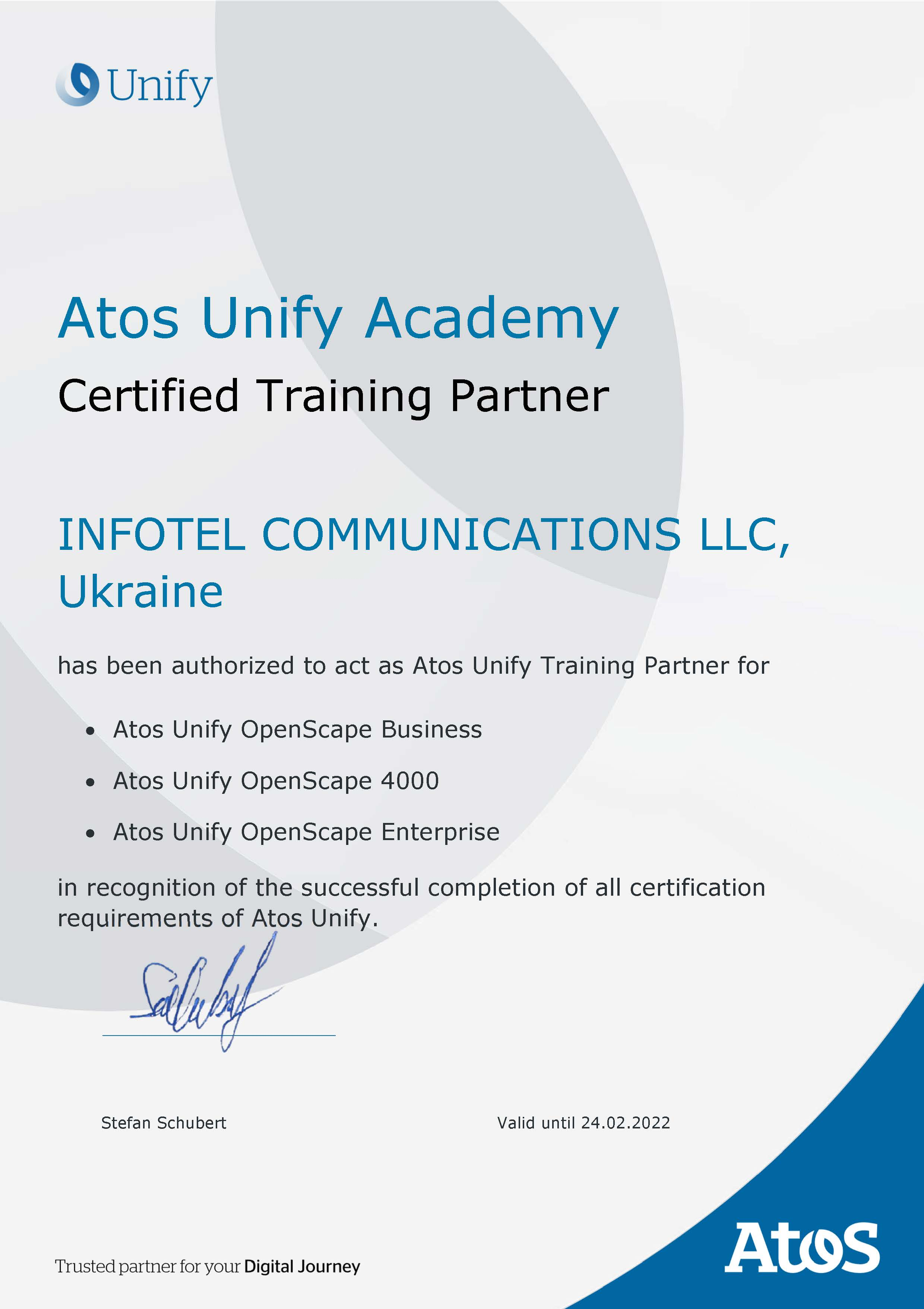 Atos-Unify-Training-Certificate-Infotel