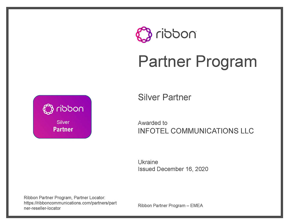 Ribbon Partner Accreditation Certificate 2020.